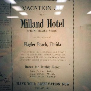 A Milland Hotel Advertisement that appeared in the 1947 edition of the Flagler Tribune.